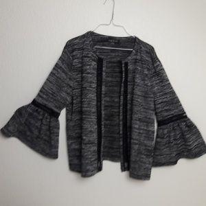 August Silk Open Front Cardigan Cutout Bell Sleeve